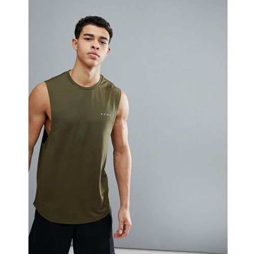 Asos 4505 longline sleeveless t-shirt with quick dry in khaki - green