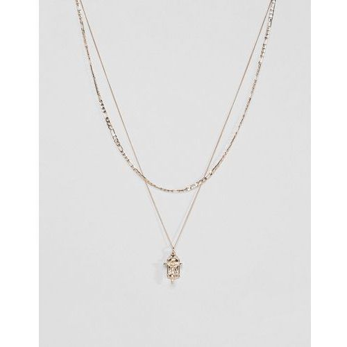 micro bunched layer pendant necklace with figaro chain in gold - gold marki Chained & able