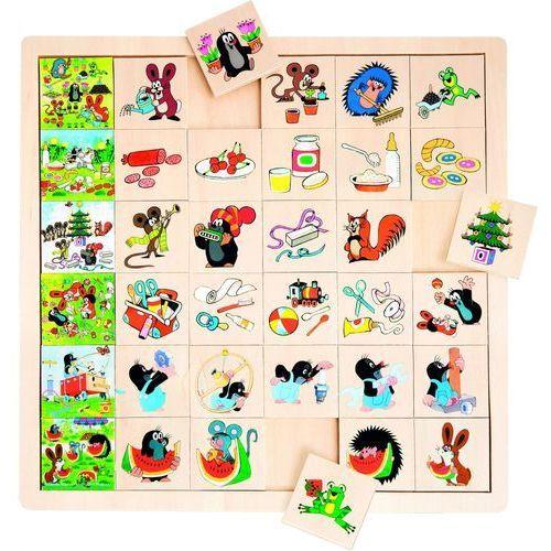 BINO Drewniane puzzle, Krecik (4019359137288)