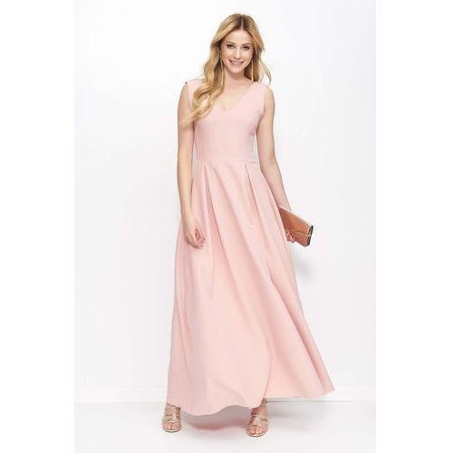 Pudrowa Sukienka Długa Rozkloszowana na Szerokich Ramiączkach, w 3 rozmiarach