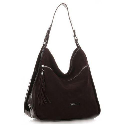 Uniwersalne torebki damskie xl zamsz naturalny/skóra lakier eko czekolada (kolory) marki Silvia rosa