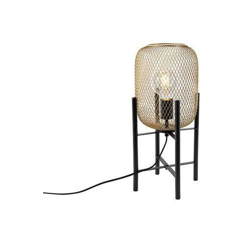 Qazqa Nowoczesna czerń ze złotą lampą stołową - bliss mesh