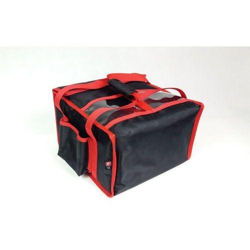 Podgrzewana torba wykonana z nylonu na 4 kartony do pizzy o wymiarach 450x450 mm, ze stelażem, czarna z czerwoną lamówką   , t4l pu marki Furmis