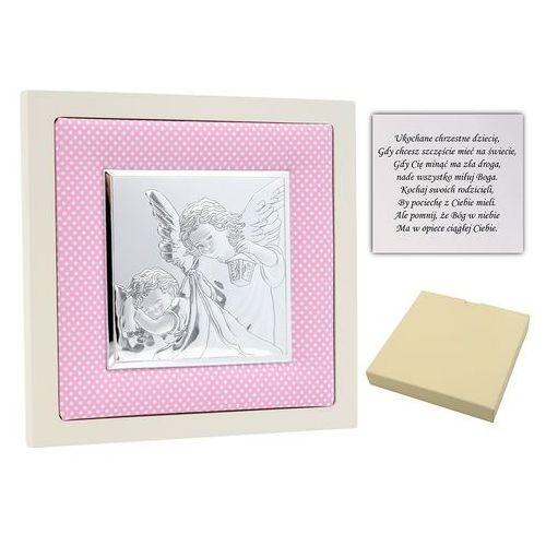 Obrazek srebrny Anioł Stróż w różowej ramce pamiątka chrztu na chrzest Grawer