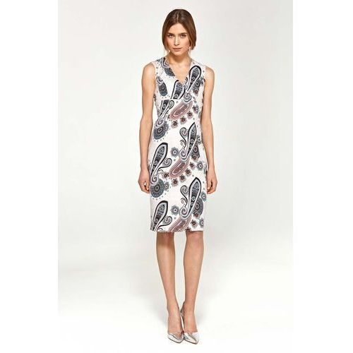 Wzorzysta elegancka dopasowana sukienka do kolan z dekoltem v marki Nife