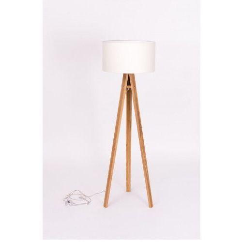 Lampa podłogowa na trójnogu z abażurem RAGABA WANDA jesionowa - kolor biały