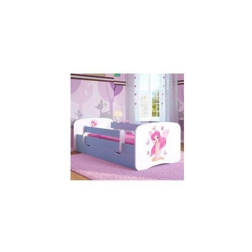 Łóżko dziecięce z materacem WRÓŻKA z MOTYLKAMI, biało-niebieskie