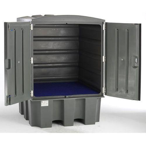 Pojemnik na substancje niebezpieczne z pe, z drzwiami, na 4 x beczki 200 l, z ru marki Lacont umwelttechnik
