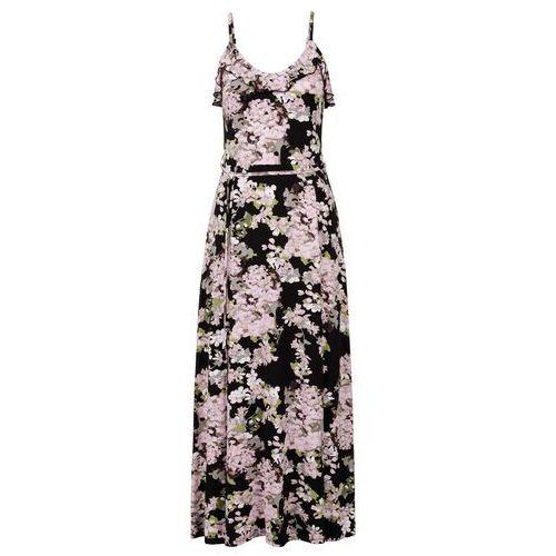aa2318383f Długa sukienka z falbaną czarny w kwiaty marki Bonprix