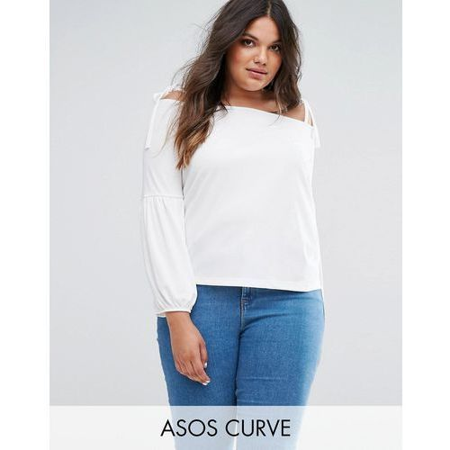 Asos curve  top in crepe with off shoulder and pretty bell sleeve - cream