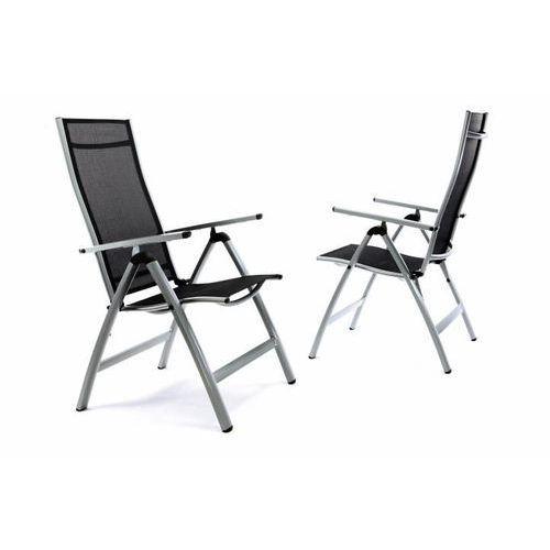 Zestaw 2 x bardzo szerokie ustawialne krzesła ogrodowe - czarne