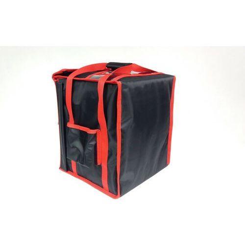 Podgrzewana torba wykonana z nylonu na 8 kartonów do pizzy o wymiarach 350x350 mm, czarna z czerwoną lamówką   , t8s p marki Furmis