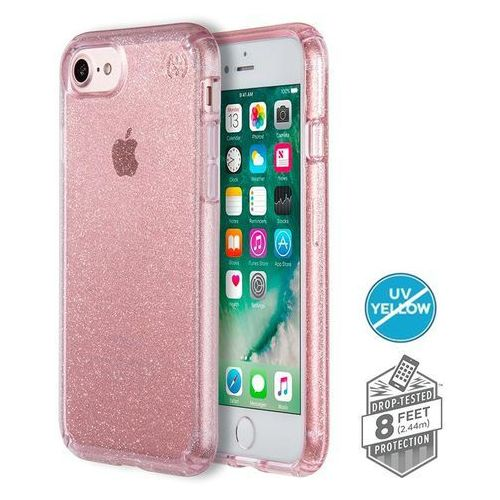 Speck Presidio Clear with Glitter - Etui iPhone 8 (Gold Glitter/Bella Pink), kolor różowy