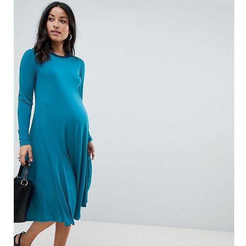 Asos maternity Asos design maternity midi swing dress with long sleeves in slinky crepe - green