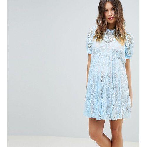 Asos design maternity lace swing mini dress with collar - blue marki Asos maternity