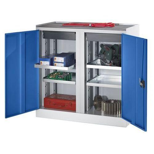 Quipo Szafy na narzędzia i szafy dostawne, 2 szuflady, 4 półki, 1 środkowa ścianka dzi