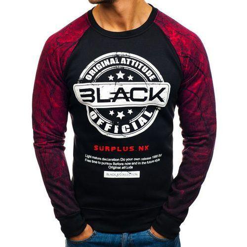 Bluza męska bez kaptura z nadrukiem czarno-czerwona denley dd258 marki J.style