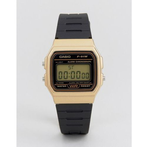 digital silicone strap watch in black/gold f91wm-9a - black marki Casio