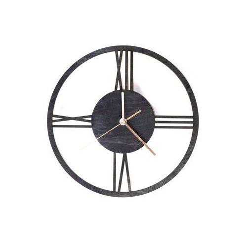 Drewniany zegar na ścianę Rzymskie cyfry ze złotymi wskazówkami, kolor czarny