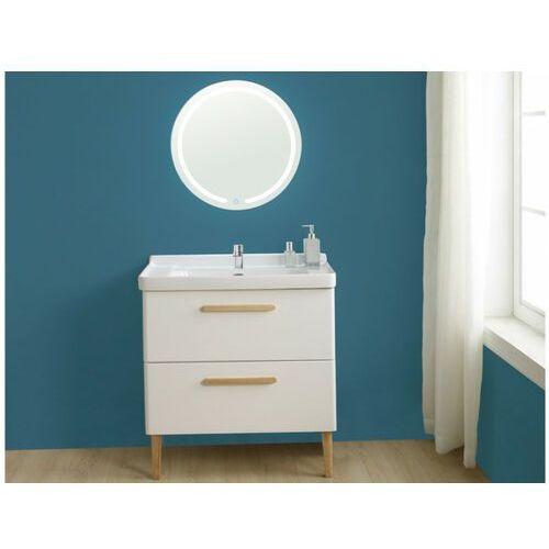 Zestaw mebli łazienkowych vatine – szafka pod umywalkę i umywalka, lustro – biały lakierowany marki Shower design