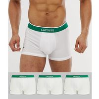 Lacoste colours core 3 pack trunks in white - white