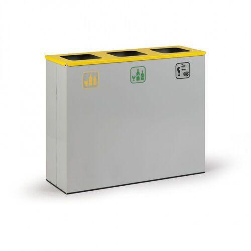 Kosz do segregacji śmieci, 3 x 50 l szary marki B2b partner