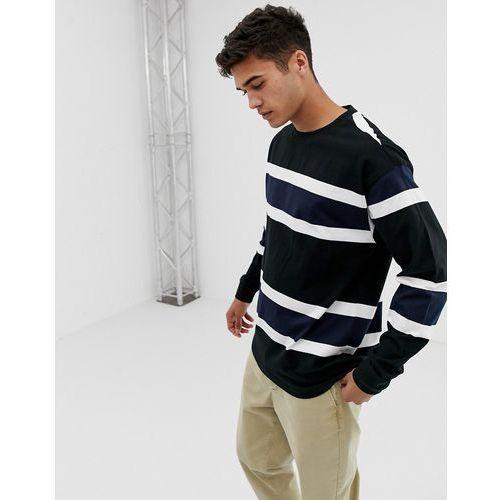 New Look oversized long sleeve cuff t-shirt in navy stripe - Navy, kolor szary