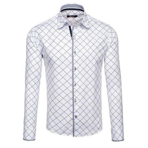 Biała koszula męska we wzory z długim rękawem Bolf 1692 - BIAŁY