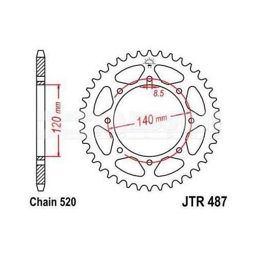 Jt sprockets Zębatka tylna stalowa jt 487-43, 43z, rozmiar 520 2300600 kawasaki bj 250, kl 650