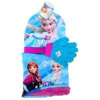 Komplet: czapka jesienna / zimowa, szalik i rękawiczki Frozen - Kraina Lodu