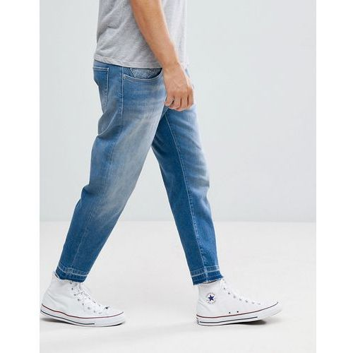 Selected Homme Jeans In Tapered Fit With Cropped Leg - Blue, kolor niebieski