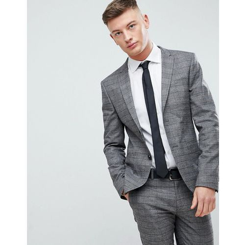 River Island Super Skinny Suit Jacket In Brown And Grey Check - Brown, kolor brązowy