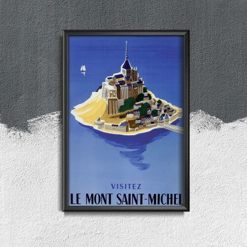 Vintageposteria.pl Plakat vintage do salonu plakat vintage do salonu mont saint michel french
