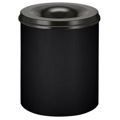 Bezpieczny kosz na papier, poj. 80 l, wys. 550 mm, grafitowo-czarny. Korpus z bl