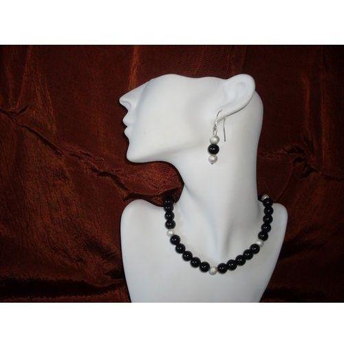 N-00012 Naszyjnik z perełek szklanych, czarnych, kolor czarny