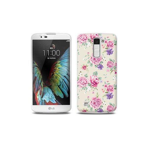 LG K10 - etui na telefon Full Body Slim Fantastic - pastelowe różyczki, kolor różowy