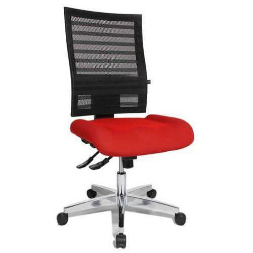 Krzesło obrotowe dla operatora, oparcie z siateczki, czarne, obicie czerwone. Ła