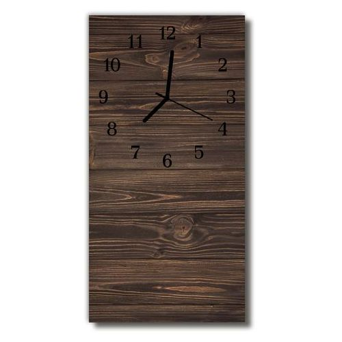 Zegar Szklany Pionowy Drewno panele brązowy, kolor brązowy