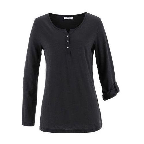 Shirt z przędzy mieszankowej, długi rękaw czarny, Bonprix, 36-58