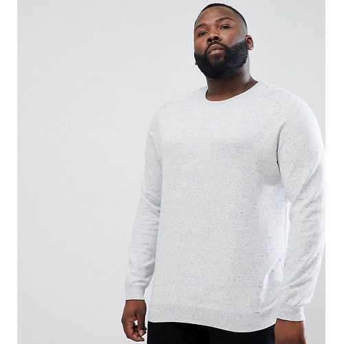 big & tall jumper with wasp embroidery in light grey - grey, River island