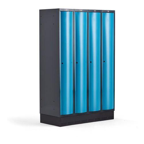 Aj produkty Metalowa szafa ubraniowa curve, na cokole, 4x1 drzwi, 1890x1200x550 mm, niebieski