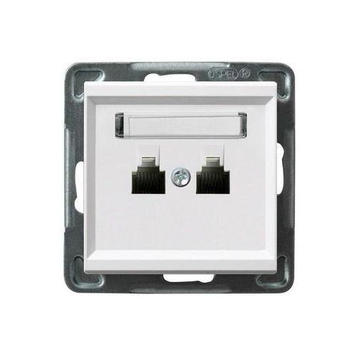 Ospel Gniazdo telefoniczne podwójne równoległe p/t, biały gpt-2rr/m/00 sonata