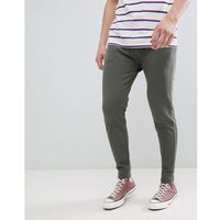 ASOS DESIGN Skinny Joggers In Khaki Vintage Wash With Cut And Sew Panel - Green, kolor zielony
