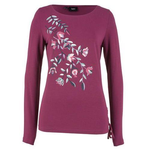 Shirt z koronkową wstawką bonprix czarny, kolor fioletowy