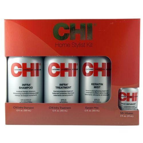 Chi Zestaw: home stylist kit: szampon chi infra 355ml + odżywka chi infra 355ml + odżywka chi keratin mist 355ml + olejek chi silk infusion 59ml