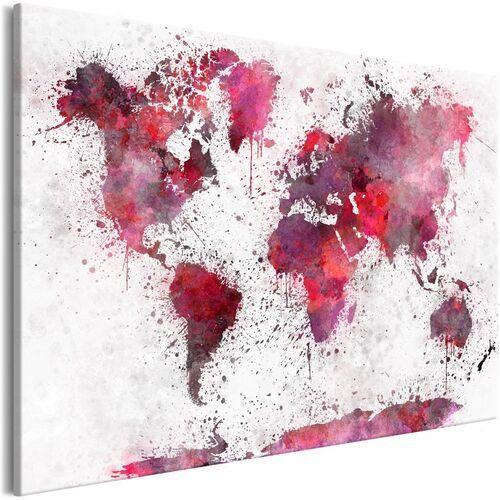 Obraz - Mapa świata: czerwone akwarele (1-częściowy) szeroki
