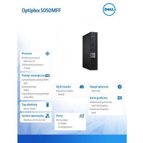 Optiplex 5050MFF Win10Pro i5-7500T/500GB/8GB/HD630/MS116/KB216/3Y NBD (5902002031837)
