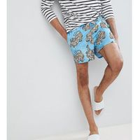 ASOS TALL Swim Shorts In Blue Tiger Print Short Length - Blue, 1 rozmiar