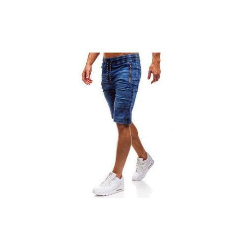 Krótkie spodenki jeansowe męskie granatowe denley hy186, Red fireball
