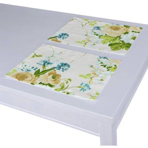 Dekoria podkładka 2 sztuki, niebieskie kwiaty na białym tle, 40 x 30 cm, mirella